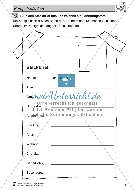 """Märchen im Unterricht: """"Rumpelstilzchen"""": Text (mittelschwer) und Übungen Preview 3"""