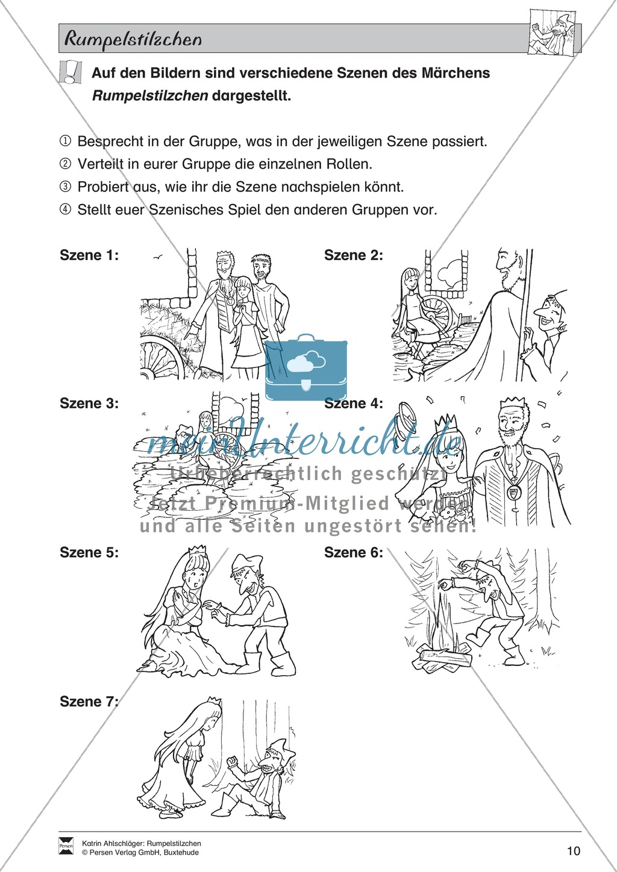 """Märchen im Unterricht: """"Rumpelstilzchen"""": Text (mittelschwer) und Übungen Preview 4"""