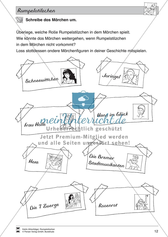 """Märchen im Unterricht: """"Rumpelstilzchen"""": Text (mittelschwer) und Übungen Preview 6"""
