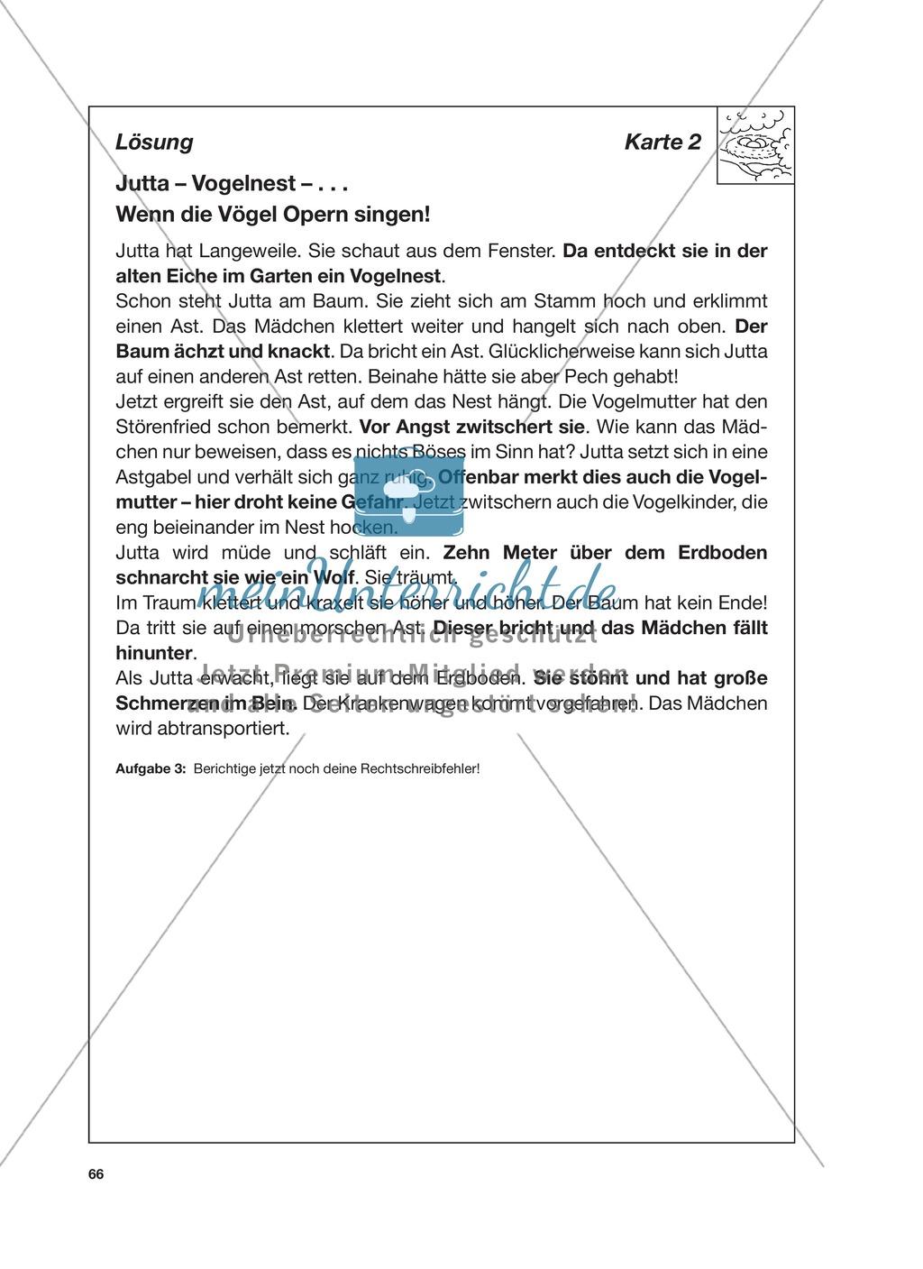 Reizwortgeschichte - Jutta, Vogelnest, ...: Unterrichtsgestaltung, Zuordnungsplan, Übungs- und Kontrollkarten Preview 9