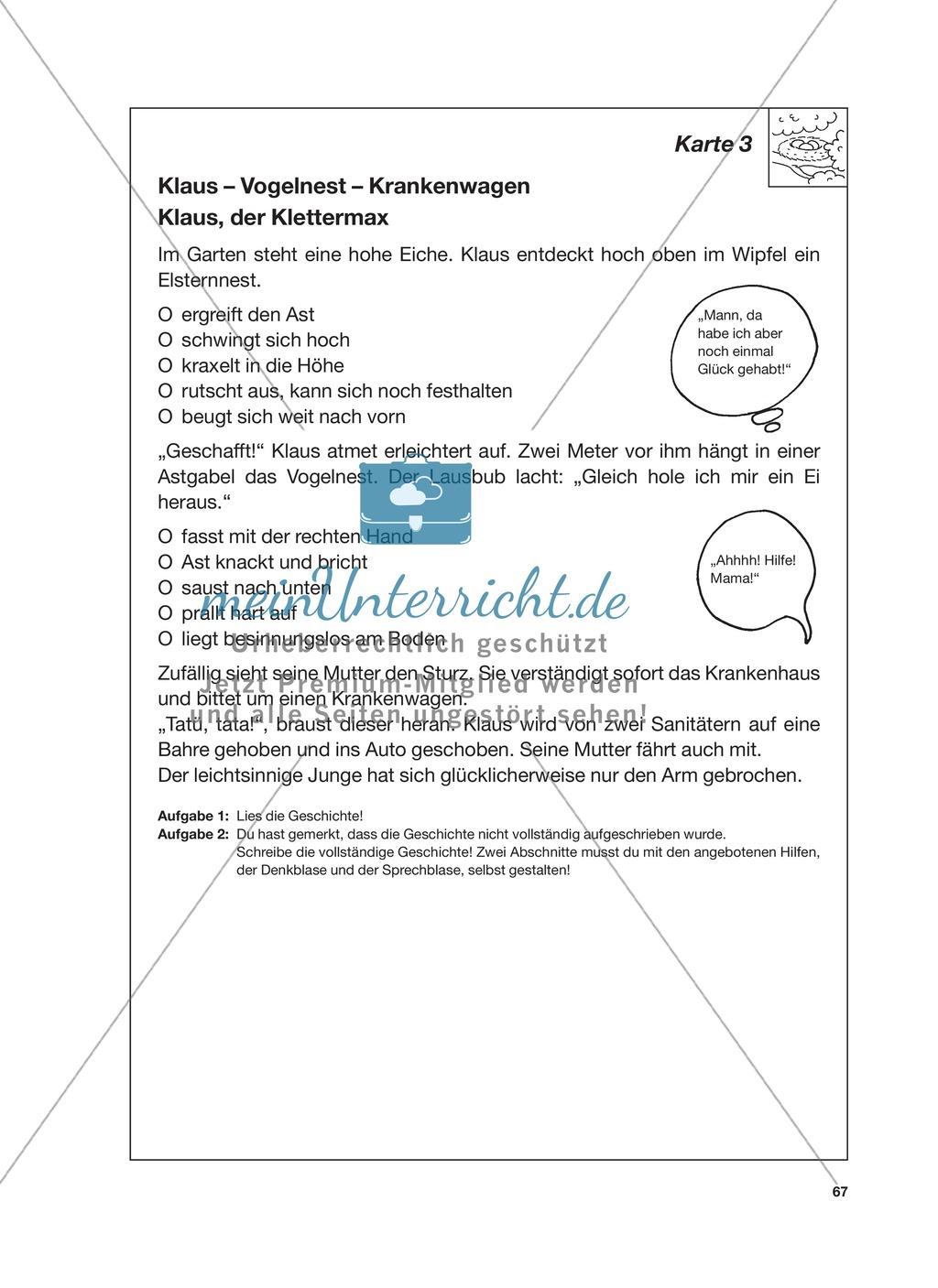 Reizwortgeschichte - Jutta, Vogelnest, ...: Unterrichtsgestaltung, Zuordnungsplan, Übungs- und Kontrollkarten Preview 10