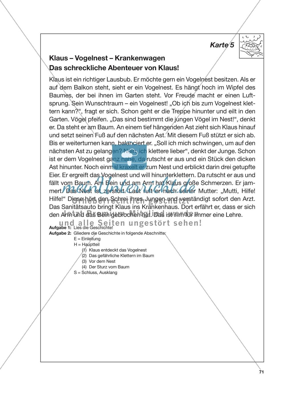 Reizwortgeschichte - Jutta, Vogelnest, ...: Unterrichtsgestaltung, Zuordnungsplan, Übungs- und Kontrollkarten Preview 14