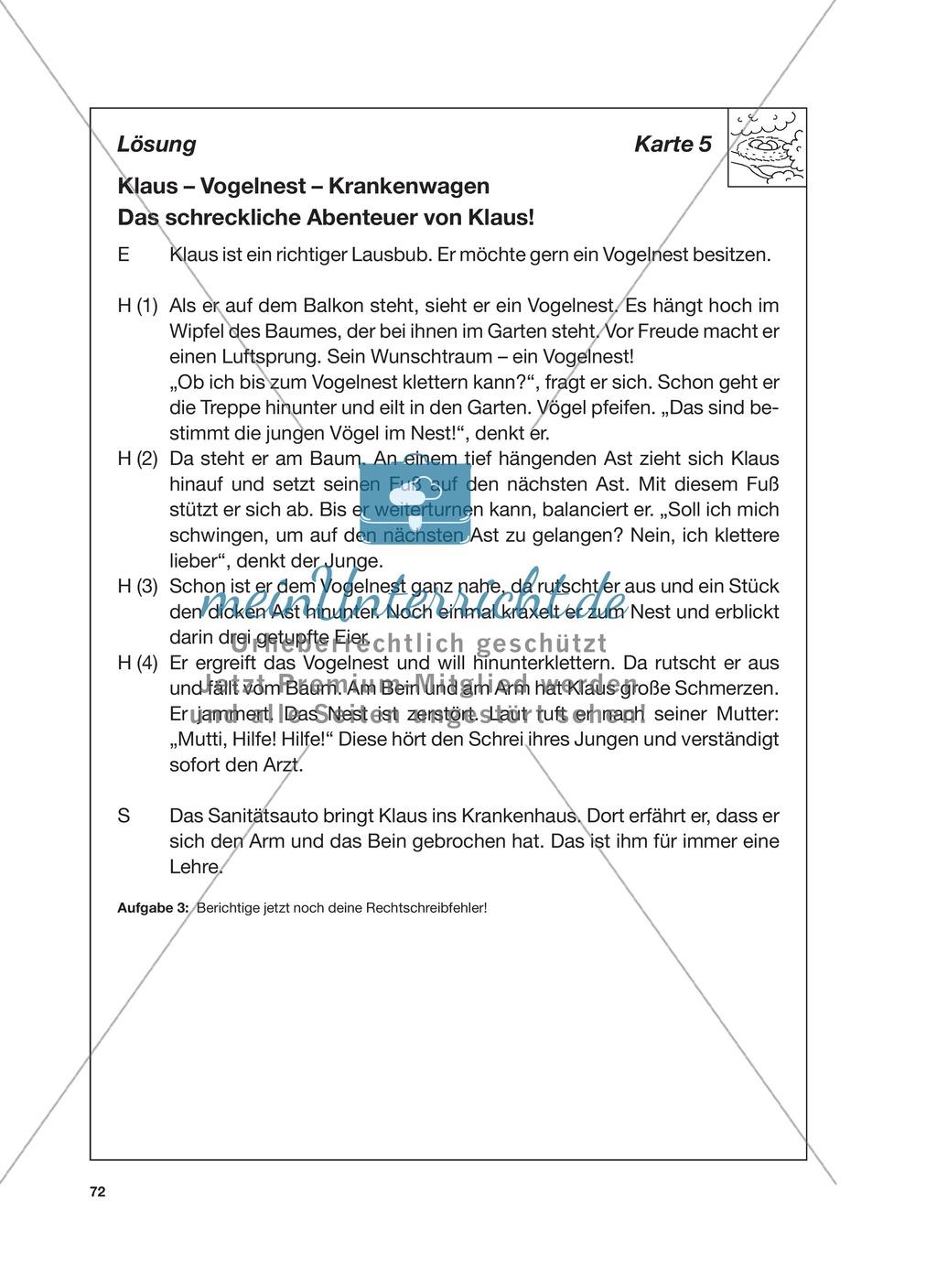 Reizwortgeschichte - Jutta, Vogelnest, ...: Unterrichtsgestaltung, Zuordnungsplan, Übungs- und Kontrollkarten Preview 15