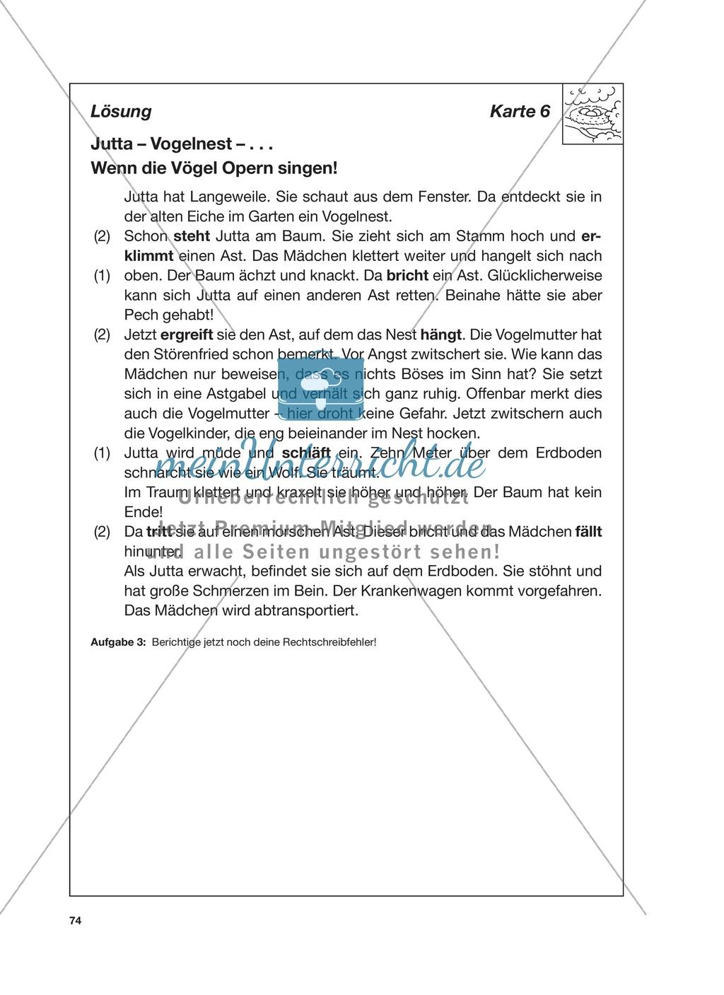 Reizwortgeschichte - Jutta, Vogelnest, ...: Unterrichtsgestaltung, Zuordnungsplan, Übungs- und Kontrollkarten Preview 17