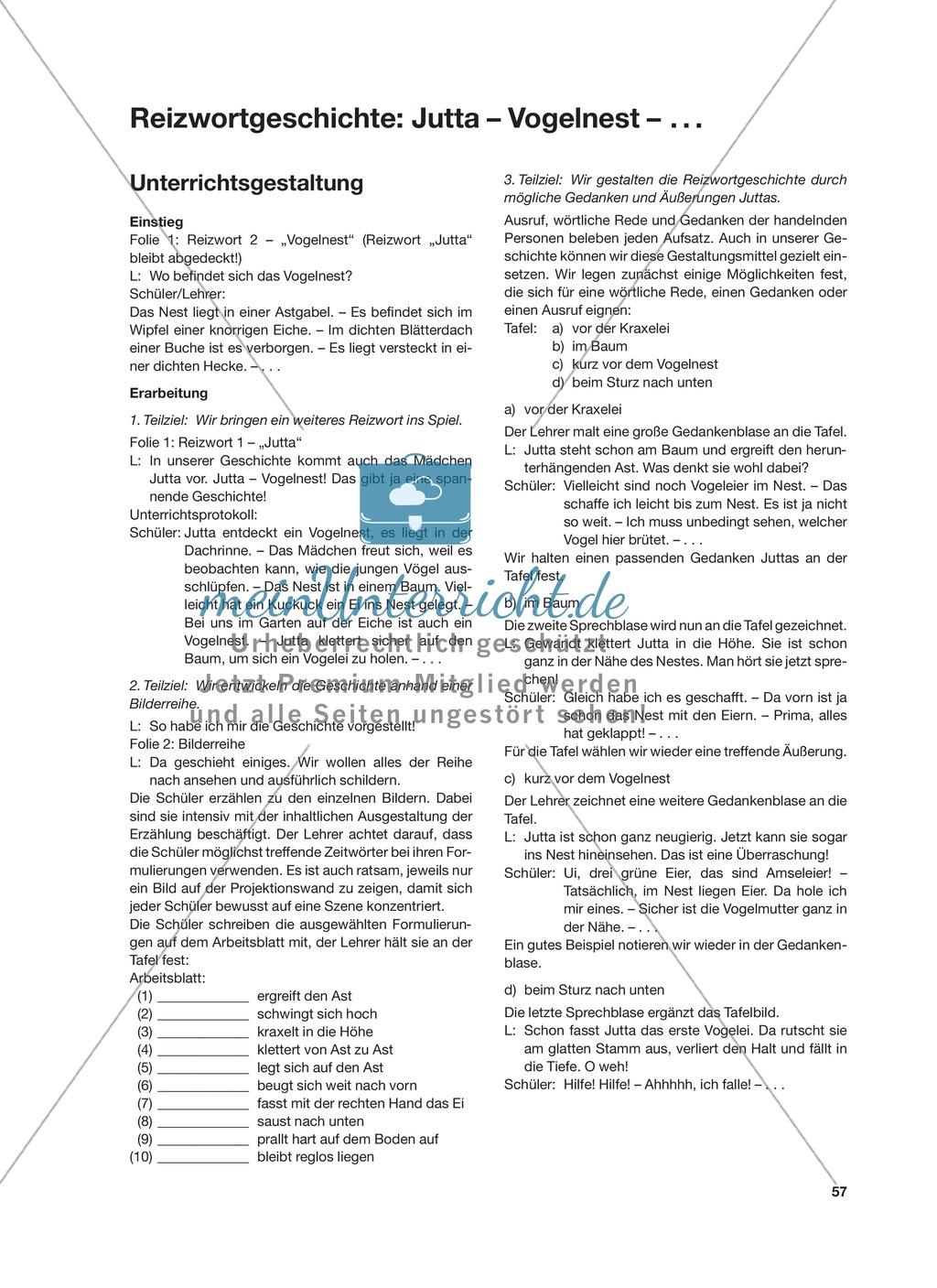 Reizwortgeschichte - Jutta, Vogelnest, ...: Unterrichtsgestaltung, Zuordnungsplan, Übungs- und Kontrollkarten Preview 0