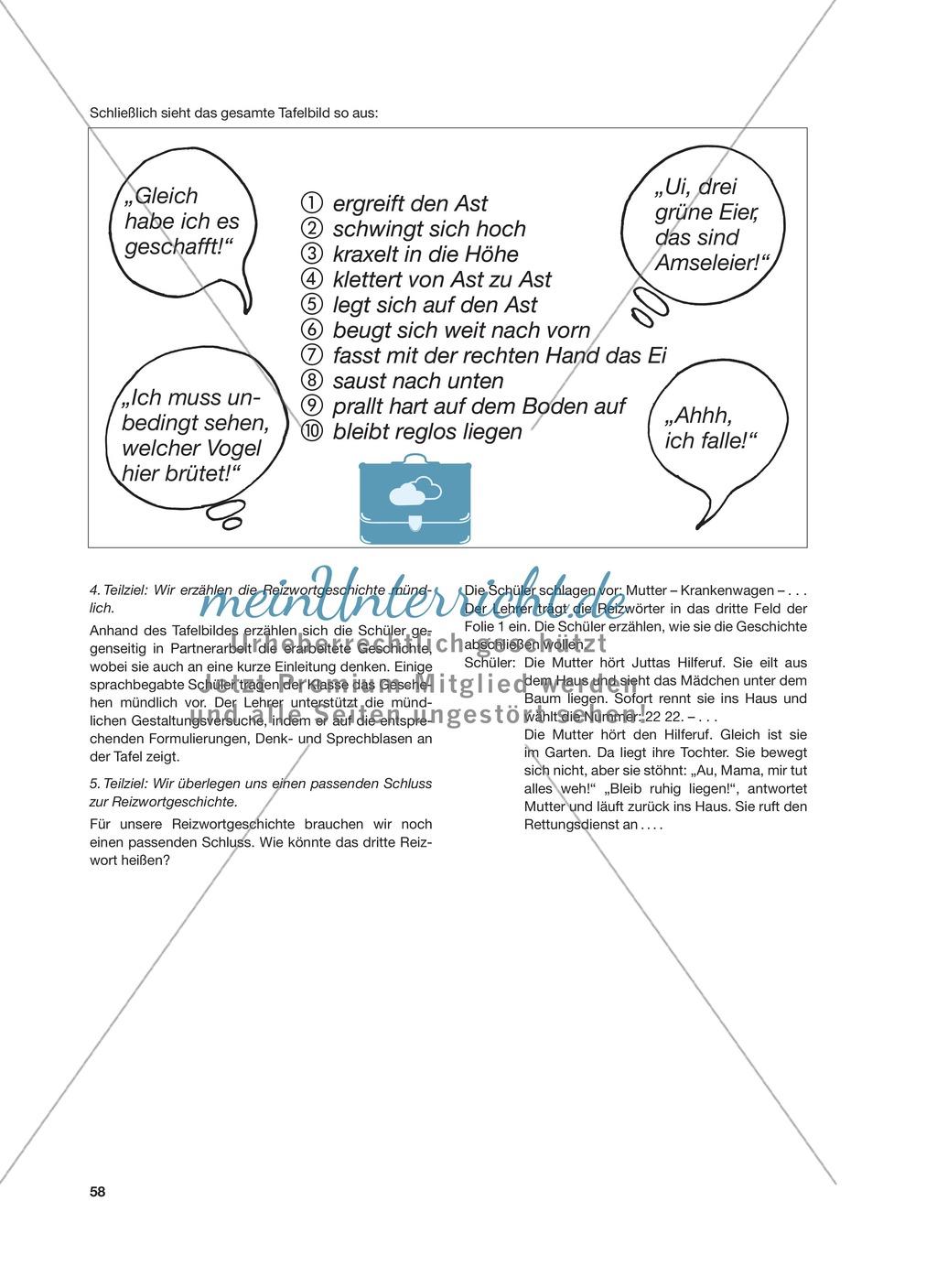 Reizwortgeschichte - Jutta, Vogelnest, ...: Unterrichtsgestaltung, Zuordnungsplan, Übungs- und Kontrollkarten Preview 1