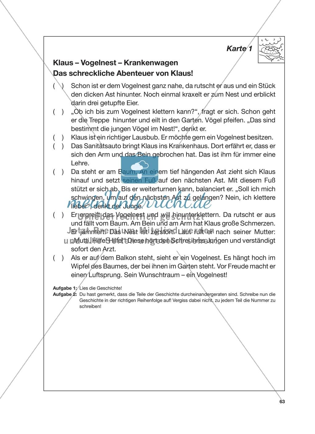 Reizwortgeschichte - Jutta, Vogelnest, ...: Unterrichtsgestaltung, Zuordnungsplan, Übungs- und Kontrollkarten Preview 6