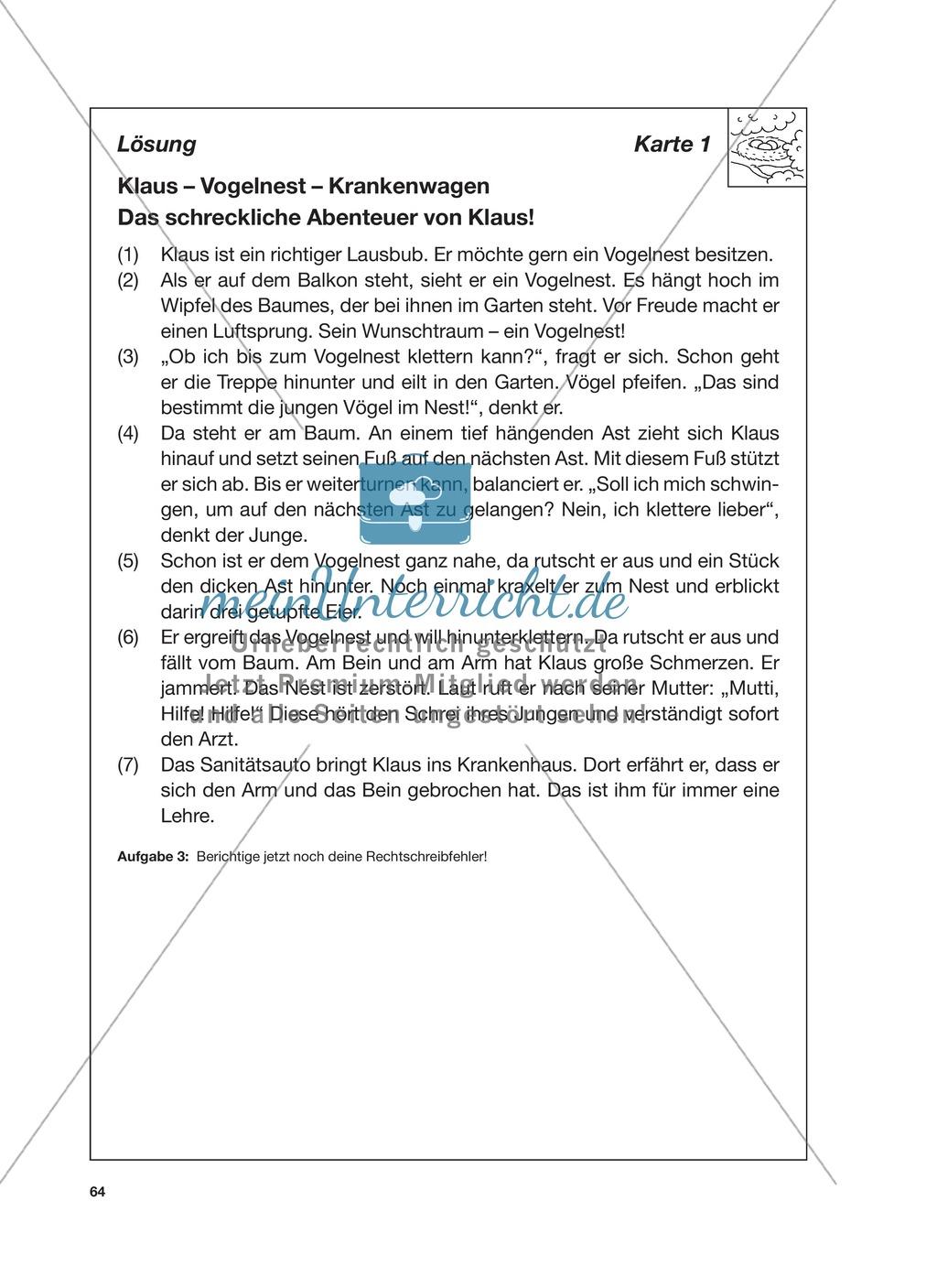 Reizwortgeschichte - Jutta, Vogelnest, ...: Unterrichtsgestaltung, Zuordnungsplan, Übungs- und Kontrollkarten Preview 7