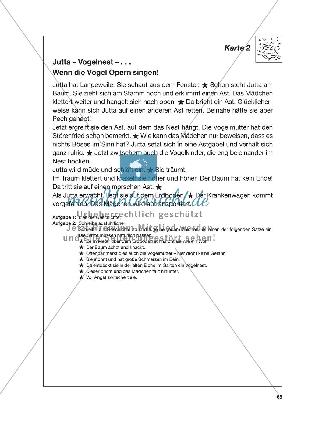 Reizwortgeschichte - Jutta, Vogelnest, ...: Unterrichtsgestaltung, Zuordnungsplan, Übungs- und Kontrollkarten Preview 8