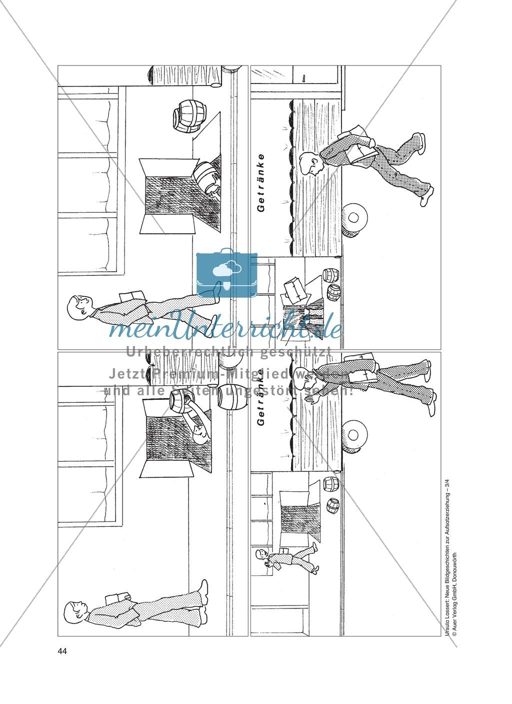 Bildergeschichten im DU - Sturz in das Kellerdach: Arbeitsblätter Preview 0