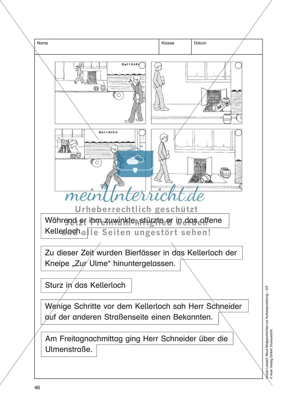 Bildergeschichten im DU - Sturz in das Kellerdach: Arbeitsblätter Preview 2