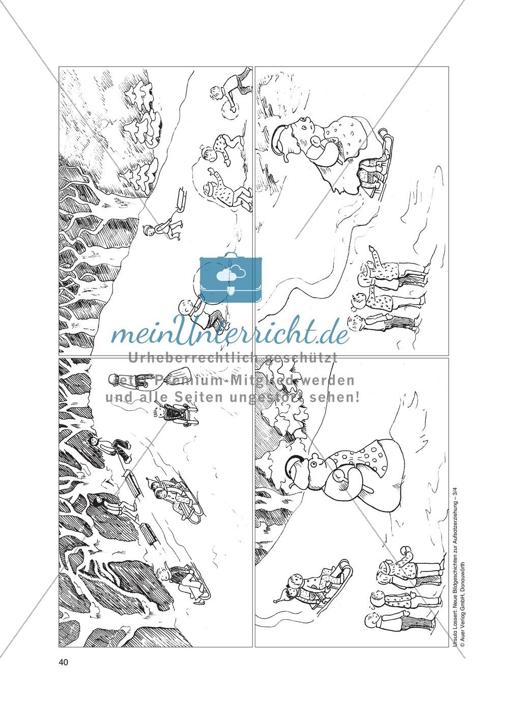 Bildergeschichten im DU - Eine aufregende Schlittenfahrt: Arbeitsblätter Preview 0