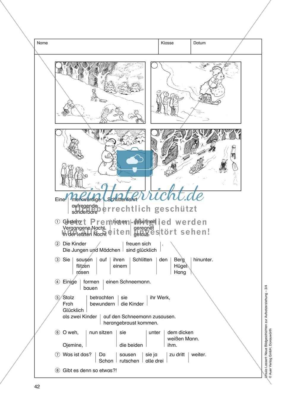 Bildergeschichten im DU - Eine aufregende Schlittenfahrt: Arbeitsblätter Preview 2