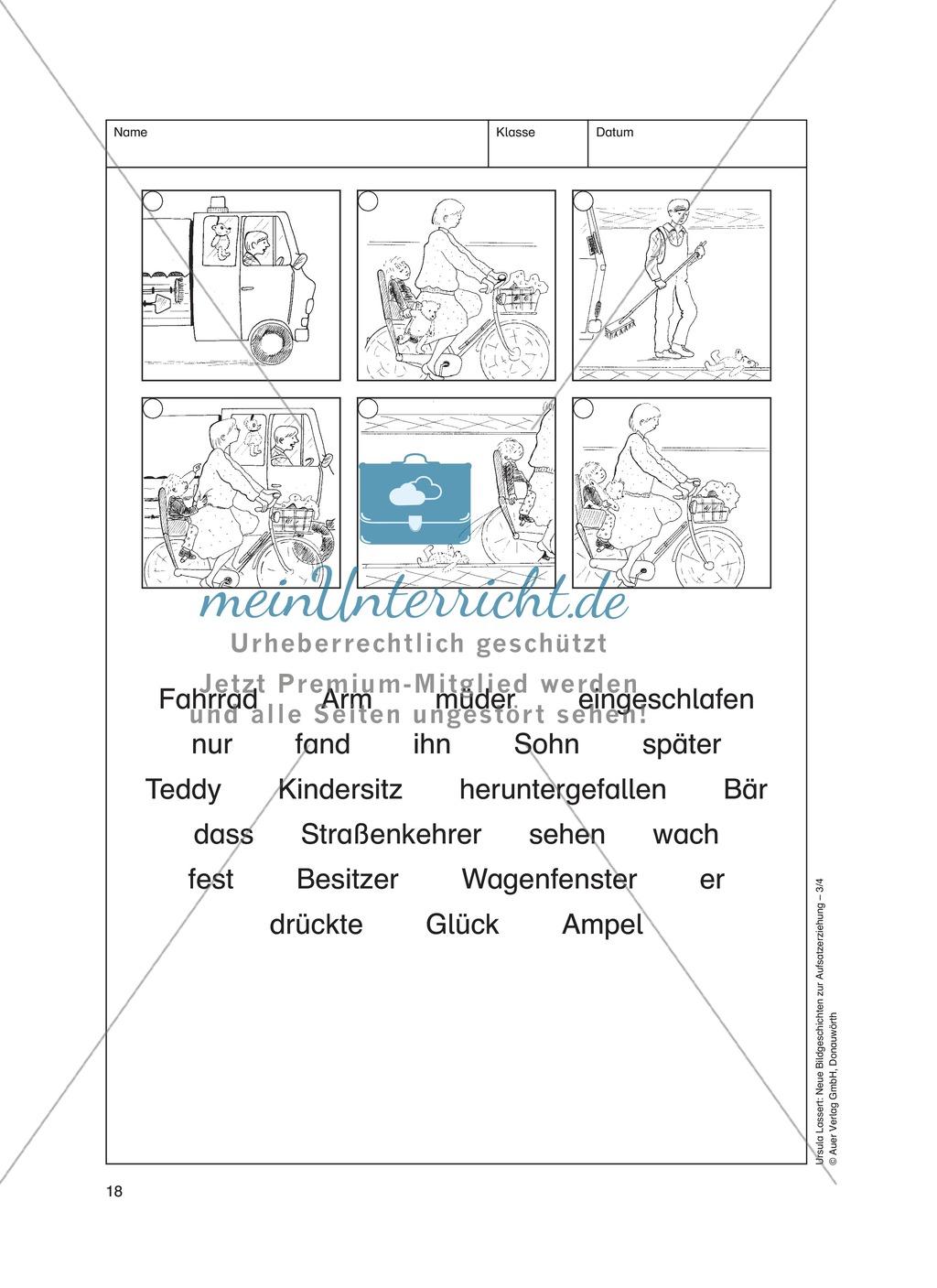 Bildergeschichten im DU - Der verlorene Teddy: Arbeitsblätter ...