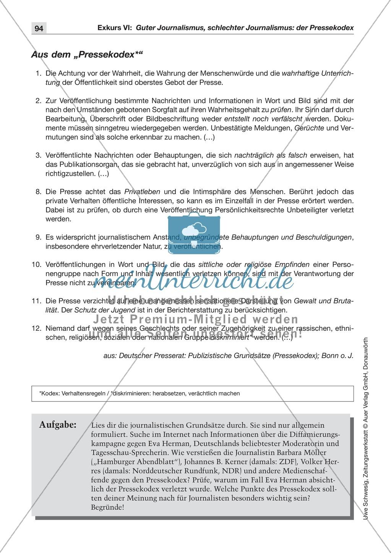 Der Pressekodex: Lesetexte mit Aufgaben Preview 0
