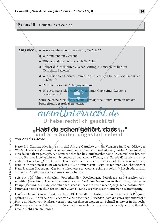 Gerüchte in der Zeitung: Lesetexte mit Aufgaben Preview 0