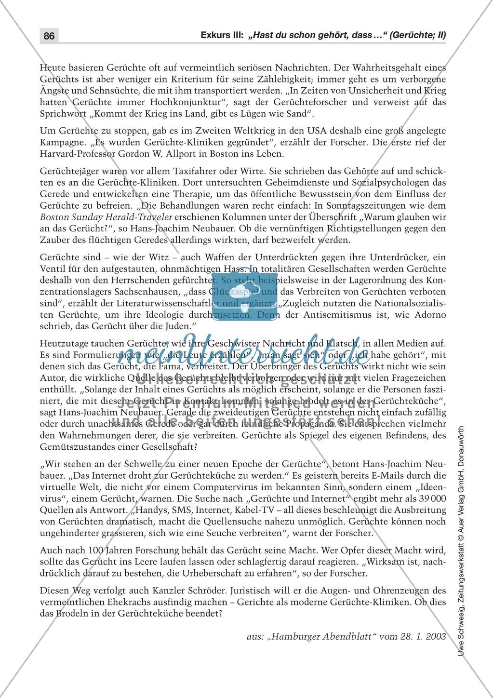 Gerüchte in der Zeitung: Lesetexte mit Aufgaben Preview 1