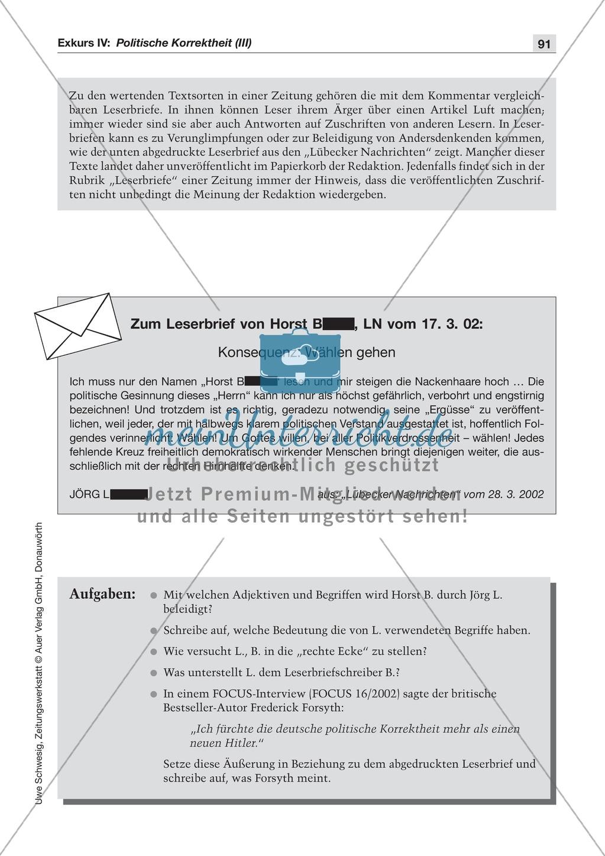 Politische Korrektheit: Lesetexte mit Aufgaben Preview 2