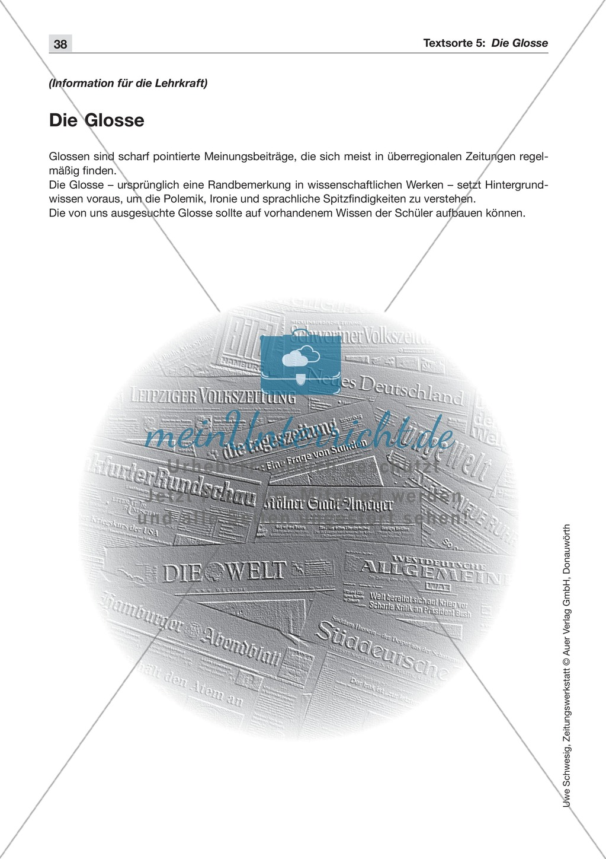 Textsorte 5: Die Glosse: Lesetext mit Aufgaben Preview 0