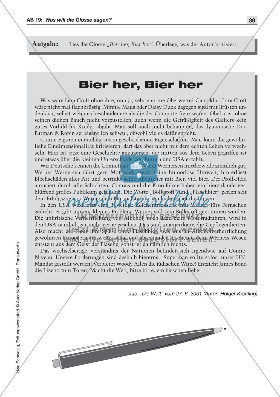 Textsorte 5: Die Glosse: Lesetext mit Aufgaben Preview 1