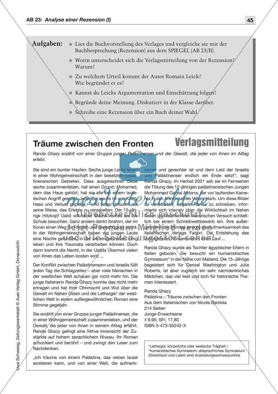Textsorte 7: Die Kritik/Die Rezension: Lesetexte mit Aufgaben ...