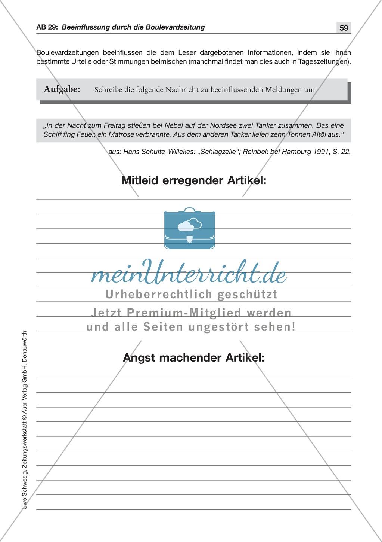 Zeitungsvergleich: Arbeitsblätter und Lösungen Preview 11