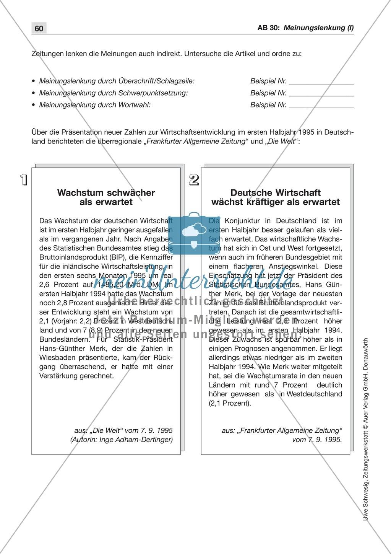 Zeitungsvergleich: Arbeitsblätter und Lösungen Preview 12
