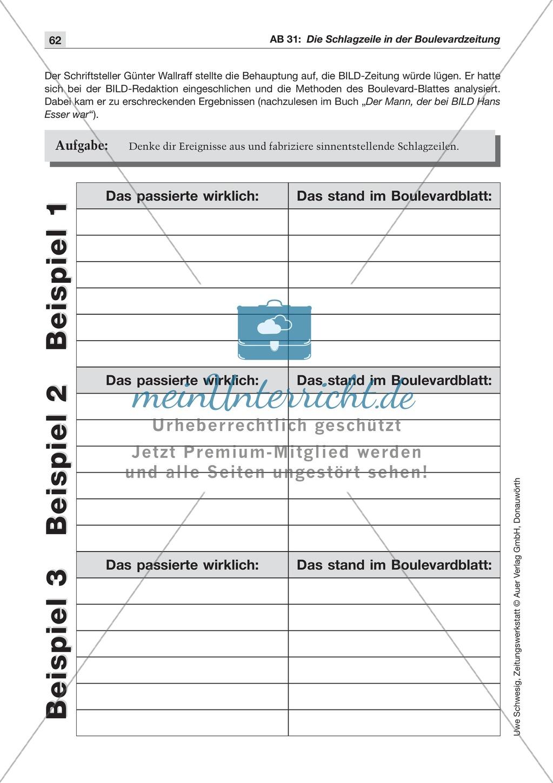 Zeitungsvergleich: Arbeitsblätter und Lösungen - meinUnterricht