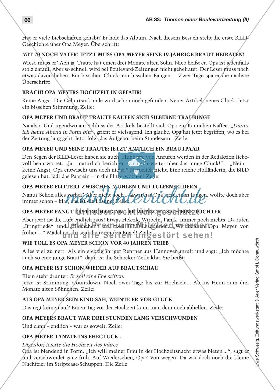 Zeitungsvergleich: Arbeitsblätter und Lösungen Preview 18