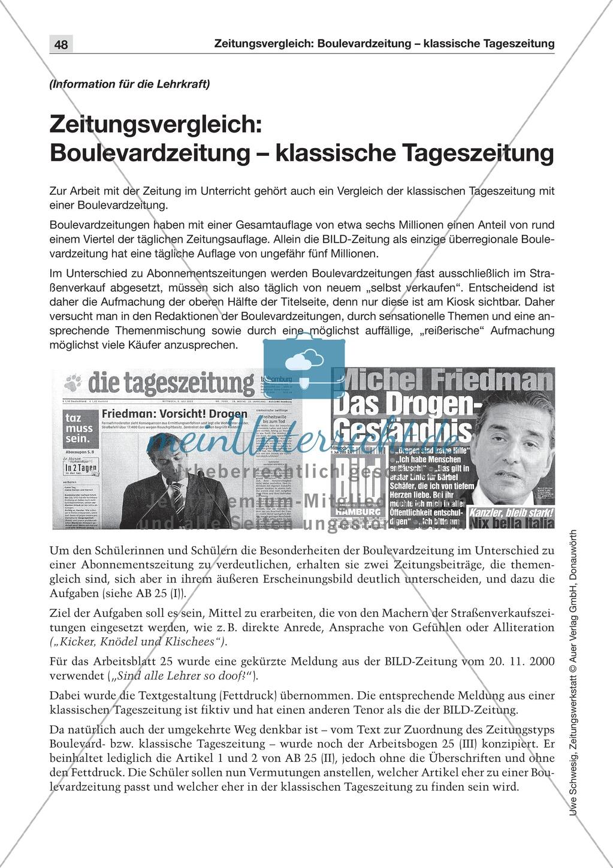 Zeitungsvergleich: Arbeitsblätter und Lösungen Preview 0