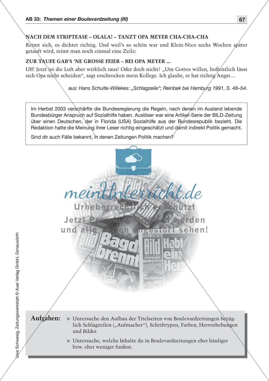 Zeitungsvergleich: Arbeitsblätter und Lösungen Preview 19