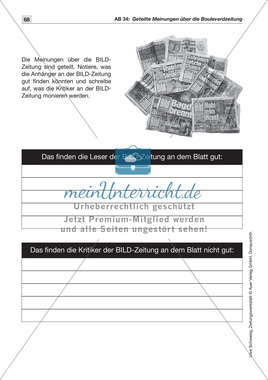 Zeitungsvergleich: Arbeitsblätter und Lösungen Preview 20
