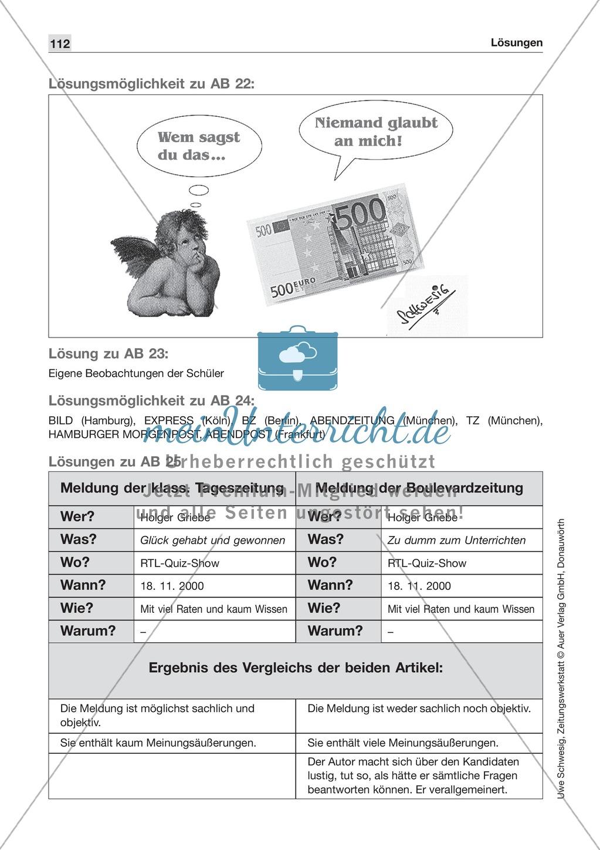 Zeitungsvergleich: Arbeitsblätter und Lösungen Preview 23