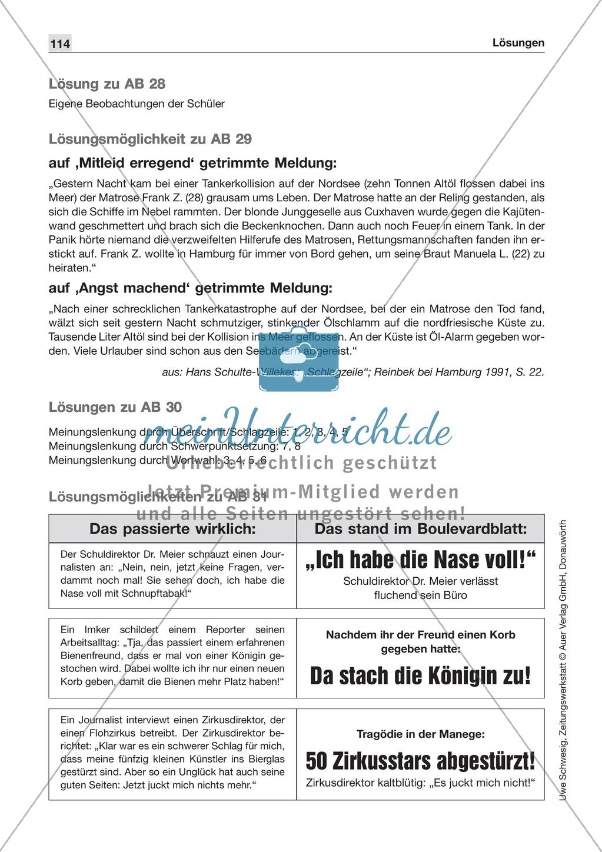 Zeitungsvergleich: Arbeitsblätter und Lösungen Preview 25