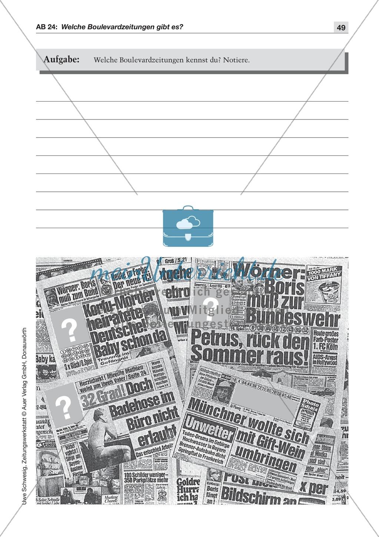 Zeitungsvergleich: Arbeitsblätter und Lösungen Preview 1