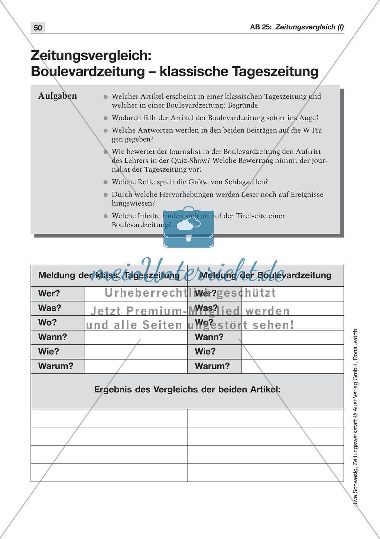 Zeitungsvergleich: Arbeitsblätter und Lösungen Preview 2