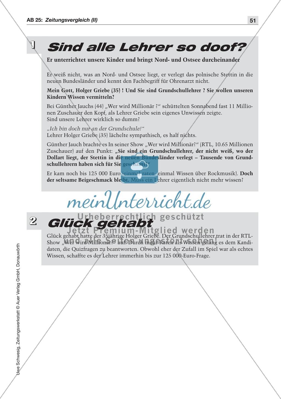 Zeitungsvergleich: Arbeitsblätter und Lösungen Preview 3