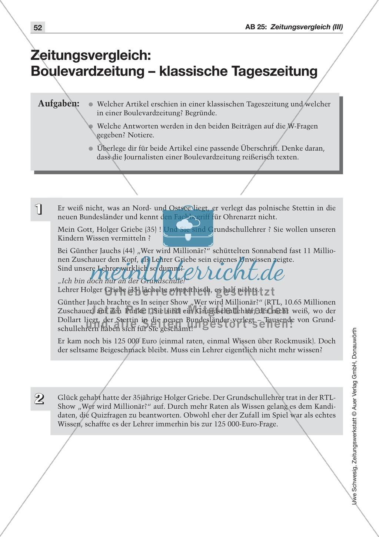 Zeitungsvergleich: Arbeitsblätter und Lösungen Preview 4