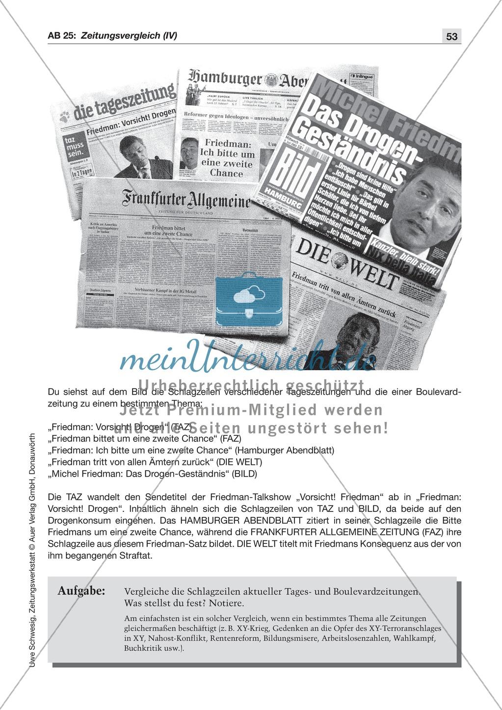 Zeitungsvergleich: Arbeitsblätter und Lösungen Preview 5