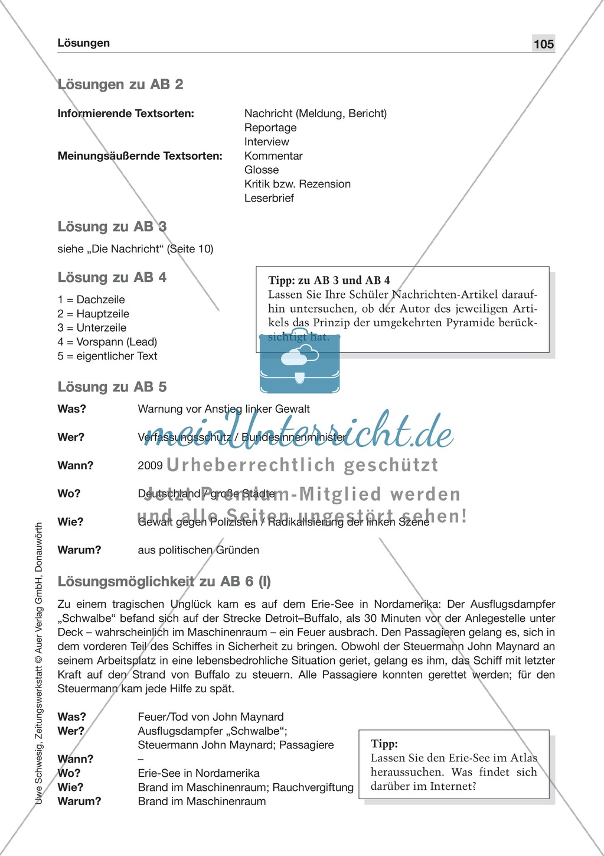 Textsorte 1: Die Nachricht: Texte, Arbeitsblätter und Lösungen Preview 9