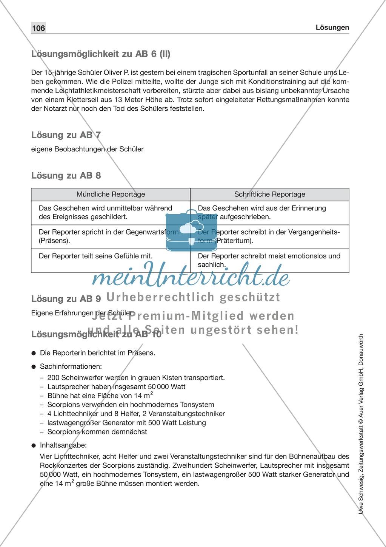 Textsorte 1: Die Nachricht: Texte, Arbeitsblätter und Lösungen Preview 10