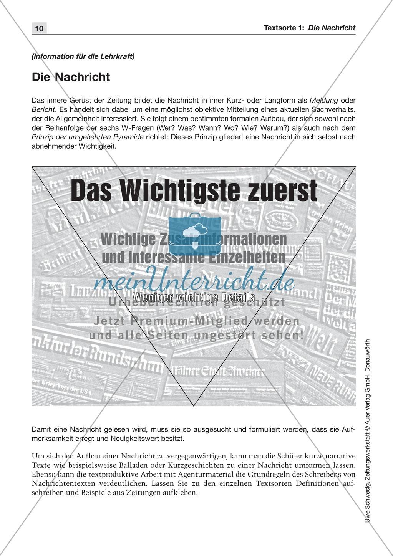 Textsorte 1: Die Nachricht: Texte, Arbeitsblätter und Lösungen ...
