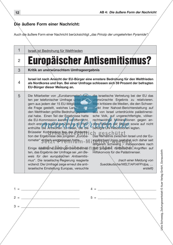 Textsorte 1: Die Nachricht: Texte, Arbeitsblätter und Lösungen Preview 2