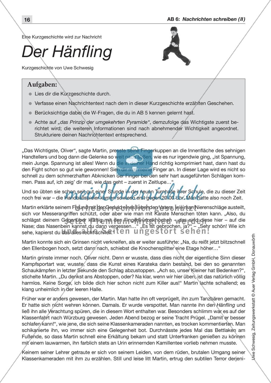 Textsorte 1: Die Nachricht: Texte, Arbeitsblätter und Lösungen Preview 6