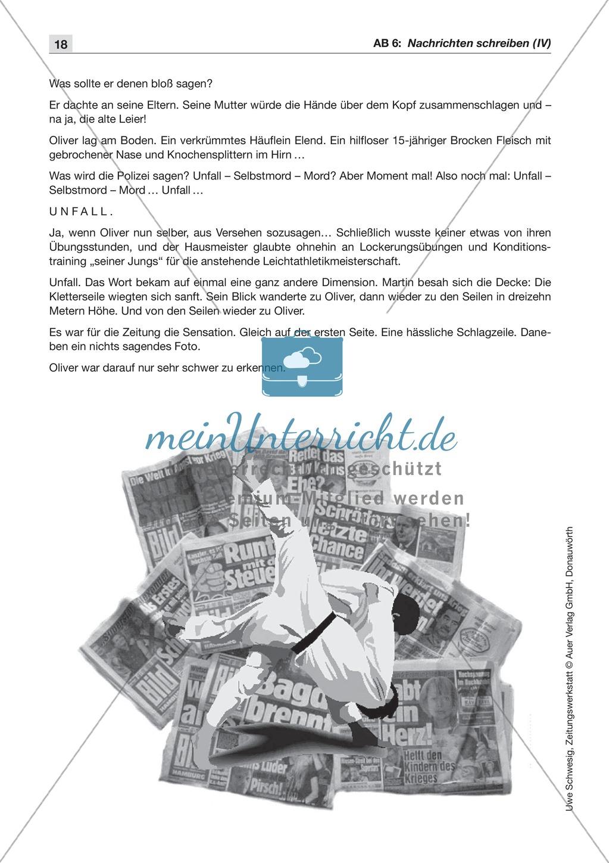 Textsorte 1: Die Nachricht: Texte, Arbeitsblätter und Lösungen Preview 8