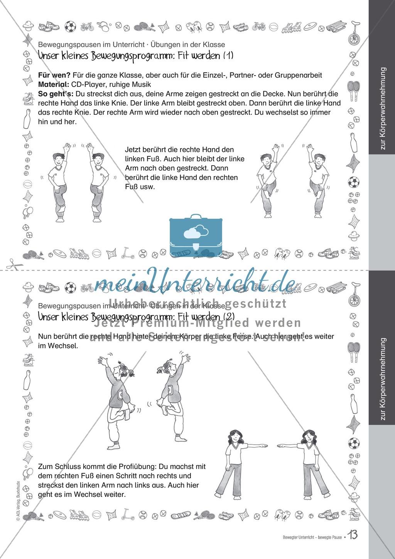 Bewegungspausen im Unterricht: Übungen zur Körperwahrnehmung Preview 1