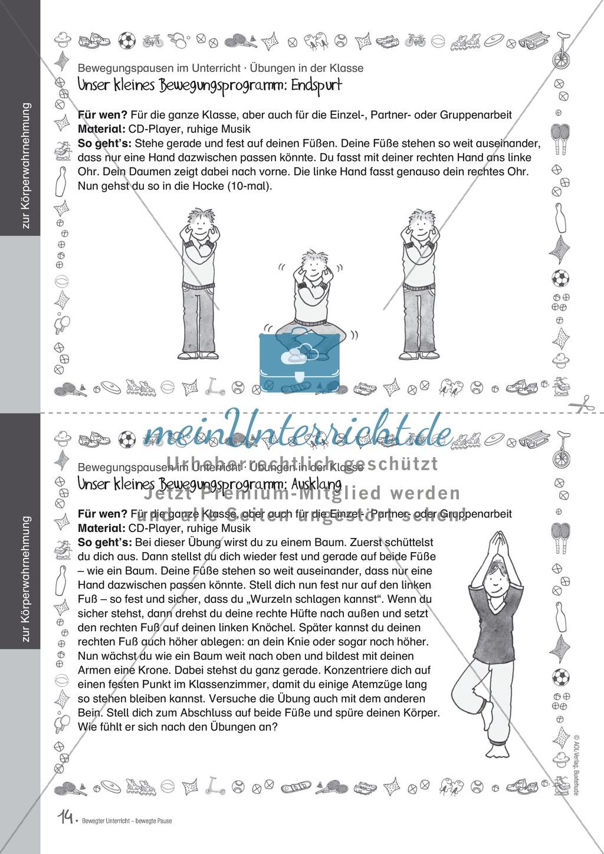 Bewegungspausen im Unterricht: Übungen zur Körperwahrnehmung Preview 2