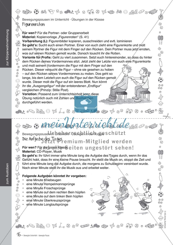 Bewegungspausen im Unterricht: Übungen zur Körperwahrnehmung Preview 4