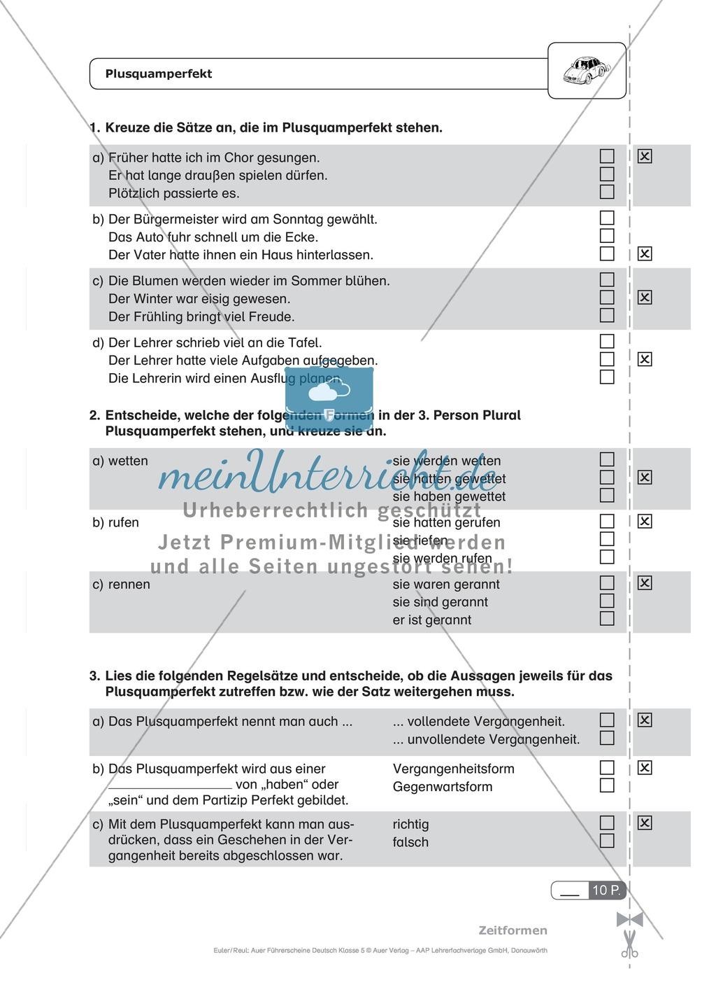 Zeitformen - Plusquamperfekt: Schnell-Tests Preview 0
