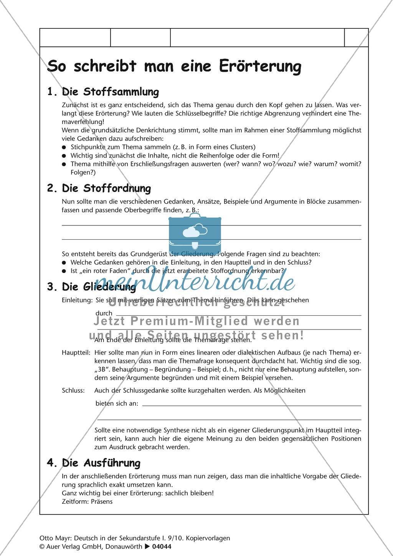 errterung schreiben bersicht zum ausfllen lsungsblatt und satzbausteine preview 0 - Dialektische Erorterung Beispiel Klasse 9